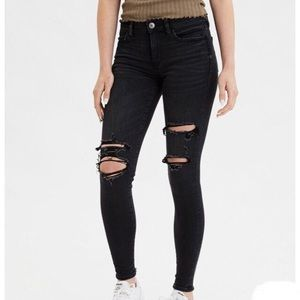 AMERICAN EAGLE | Ripped Black Jegging Skinny Jeans
